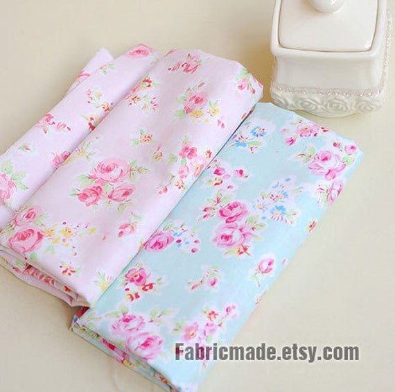 Sale Aqua Blue Fabric Pink Flower Shabby Chic
