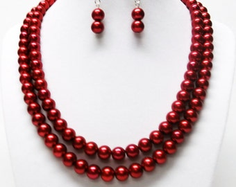 Two Strand Red Glass Pearl Necklace & Earrings Set
