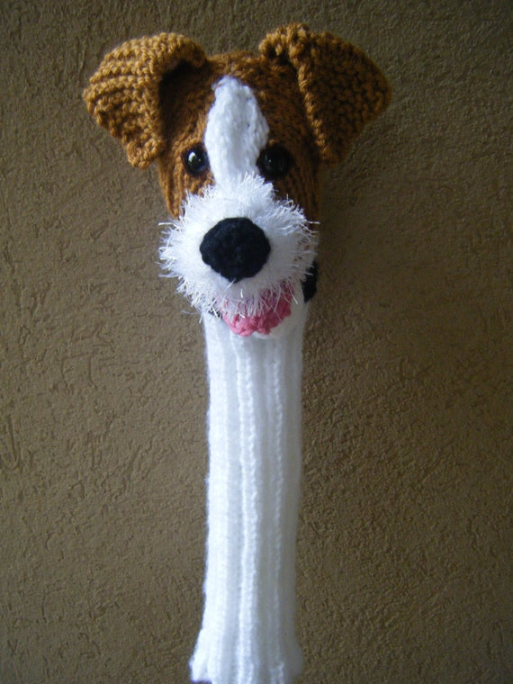 Knitting Pattern For Jack Russell Dog : Items similar to Hand knit Jack Russell Terrier dog golf club cover golf sock...
