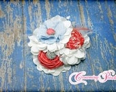 Bridal Hair Piece, Coral, Sky Blue, White Wedding Hair Clip, Coral Bridesmaid Headband, Light Blue Hair Accessory, Fabric Flower Headband