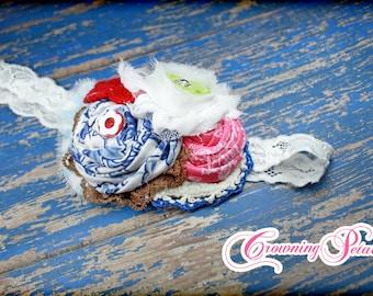 Blue, Red, Pink Hair Accessory, Fabric Flower Headband, Royal blue, White Hair Bow, Infant Headband, Hair Piece, Hair Clip,