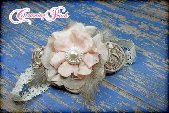 Blush, Beige, Ivory Fabric Flowers, Shabby Chic Headband, Peach Flower Hair Bow, Flower Girl Headband, Baby Hair Accessory, Flower Brooch
