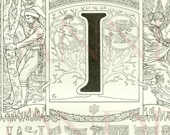 1923 Letter I Vintage Calligraphy Initial I ABC Alphabet letter I Antique letter I French dictionary page Monogram Initial