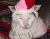 Valentine's Day Hearts Cat Small Dog Beanie Hat Crochet Handmade Pet Accessory