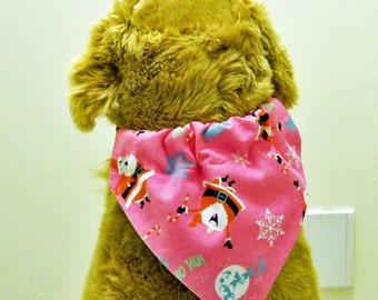 Christmas Pet Bandana Pink Flannel Large