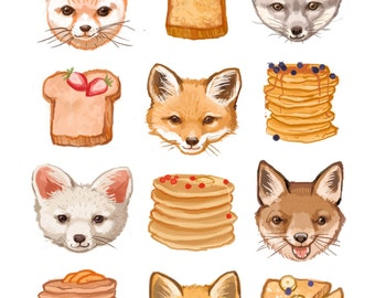 Fine Art Print - Foxes French Toast and Flapjacks Illustration