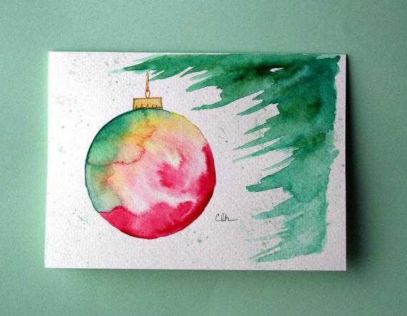 Items similar to watercolor card no christmas