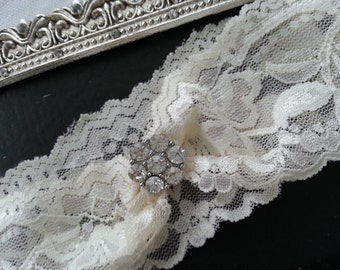 SALE Wedding Keepsake Garter - wedding garter Crystal Rhinestone-Ivory or White lace