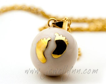 Babyfeet Mexican Bola 20mm. Elegant Enamel with gold chain necklace