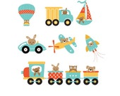 Set of 10 Iron OnHeat Transfer Sheets.. Baby Boy Travel Transportation, Trains, Planes, Cars, Trucks