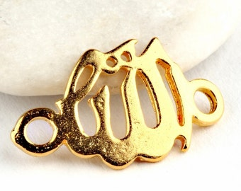 Arabic, Allah Connector, 22k Matte Gold Plated, 20 mm, 1 piece  // GPC-216