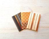 Small Notebooks: 3 Tiny Journals Set, Orange and Black Journals, Jotters, Mini Journals, Small Notebooks, Geometric, Foil, Rust, Fun, Unique