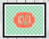 Monogram  Print -  Dorm Decor  - Nursery Print - Canvas