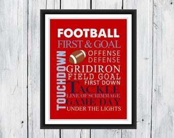 Football Word Art Print 8x10 Custom Colors CANVAS AVAILABLE
