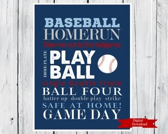 Baseball Word Art Print Custom Colors Digital Download