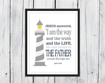 Bible Verse Nursery Print - Nautical Nursery - John14:6 Christian Art