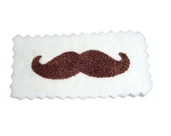 Embroidered Brown Mustache Patch - Handmade Brooch Applique