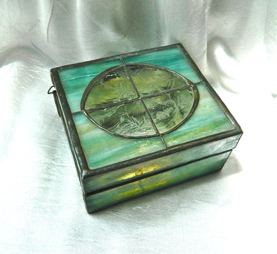 vintage trinket box stained glass arts and crafts favrile