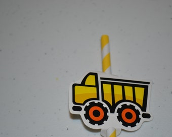 24 Dump Truck Straw Toppers & YOUR Choice of Straws/Straws and Toppers/Dump Truck Toppers/Straw and Topper Set/Construction Straw Toppers