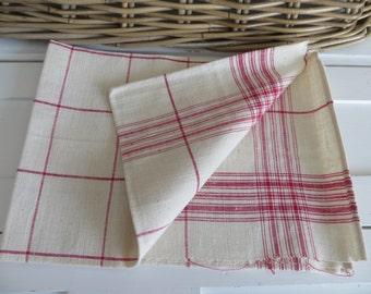 Free Shipping Worldwide  Danish Large    Hand Woven  Linen Towel Red Stripes  Monogram JS  Runner  Dish Cloth  Wrap  Bath Cloth Torchon