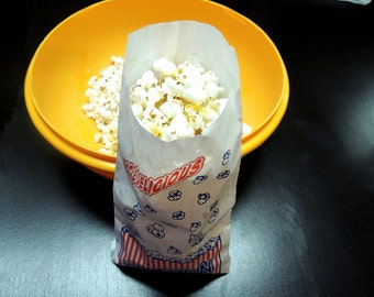 25 Popcorn Bags, Food Safe treat bags,10.5 X 5.5 inch Goody Duro bags, Grease resistant Popcorn Bags, Flat Popcorn bags, Concession Bags