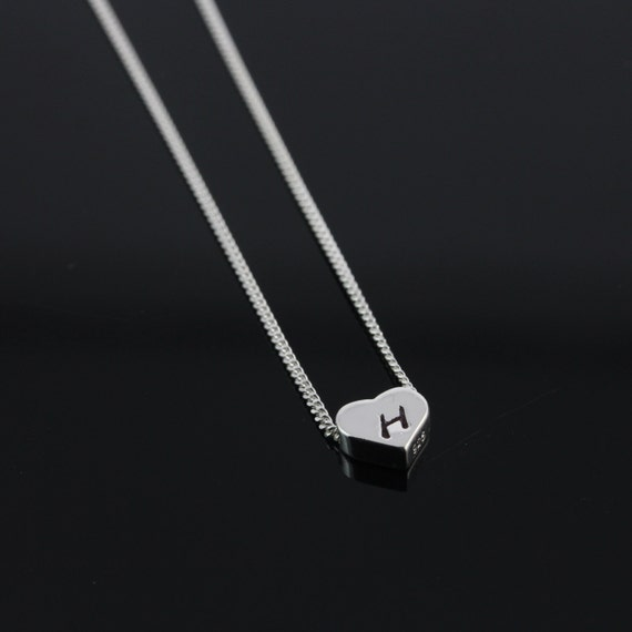 18th Birthday Cz T Bar Sterling Silver Heart Bracelet Can: Heart Initial Necklace Sterling Silver Heart Necklace . By