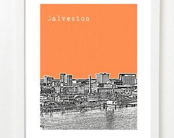 Galveston Skyline Print - Galveston City Art - Galveston Texas Poster - City Skyline Series