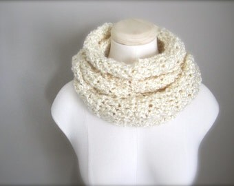 Crochet Winter White, Off White, Ivory, Cream Infinity Scarf, Women's Scarf, Men's Scarf, Unisex Scarf