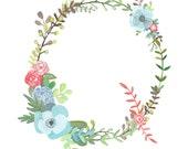 Q - Floral Letter Illustration - Floral Typography Print