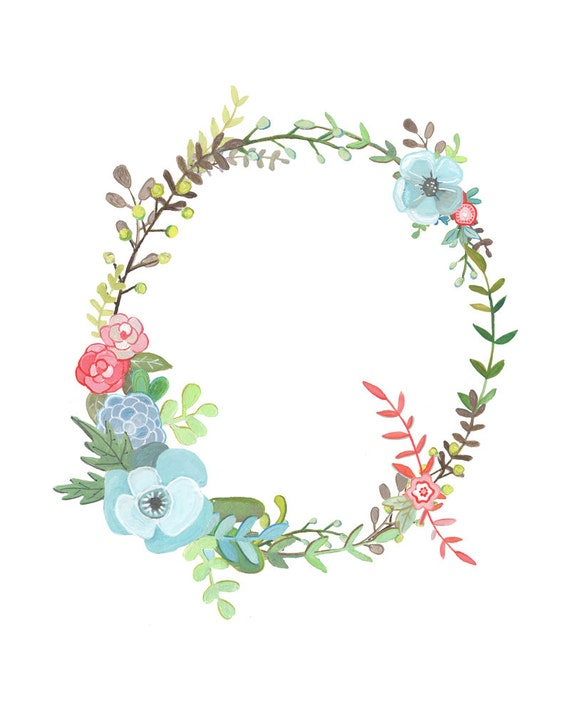 Q Floral Letter Illustration Floral Typography Print