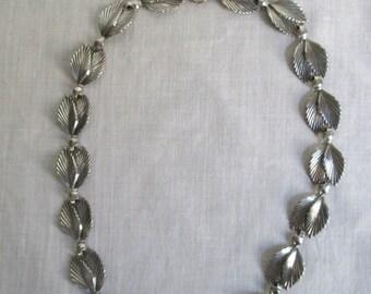 Vintage Sterling by Jewelart Double Leaf Necklace