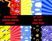 INSTANT DOWNLOAD Super Hero Digital Paper Pack 12 x 12 Sheets 10 papers