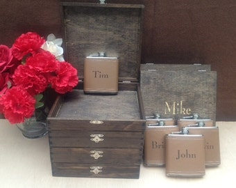 Groomsmen Gift Set of 2 Cigar Box/Flask Set - Laser Engraved Name - FREE SHIPPING - Stained and Personalized - Brown Leather Flask