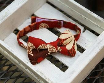 Retro Bow Tie  (Red, Brown & Cream)