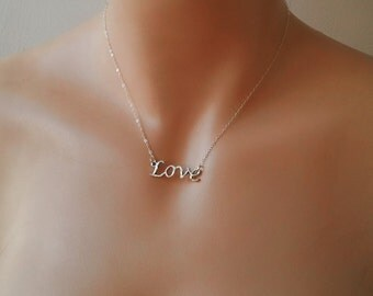 SALE Love necklace love script necklace sterling silver Gift for Sister jewelry love Sister necklace jewelry Black Friday Cyber Monday Sale