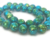 Glass Bead Necklace, Glass Beaded Necklace, Green and Blue Necklace, Blue Green Necklace, Christmas Necklace, Green Necklace