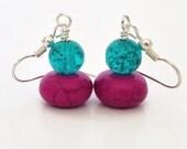 Purple Turquoise Earrings, Turquoise Earrings, Stone Dangle Earrings, Colorful Earrings, Teal Earrings, Teal and Purple