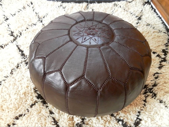 Moroccan Leather Pouf ottoman footstool floor by MARAUTHENTICS