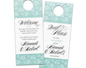 Do not disturb wedding door hangers for wedding favor guest itinerary with vintage floral custom pattern