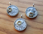 Lord of the Rings LOTR Map Pendant, Necklace with Silver Chain, Gold Ring, Middle Earth, Rivendell, Shire, Hobbiton, Geek Jewelry, Geekery