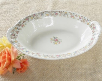 Taylor Smith Taylor Co. Floral Oval Serving Bowl, Mid Century, Ca. 1940's, #6391