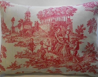 Red Toile Fabric Pillow Cover 12 x 16 -Decorative Pillow Cover, Throw Pillow, Toss Pillow