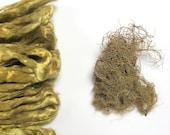 1 oz ( 28 g) Mulberry Silk Roving Fiber Top GOLDEN YELLOW - Hand dyed
