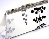 Clutch  Purse Evening or Prom Bag, Ivory Handbag with Silver/Grey/Black Floating Petals by WhiteCross Designs, Ready to Ship from USA