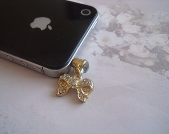 SALE:  Gold Bow Cell Phone Charm