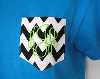 Monogram Shirt Chevron Monogram Pocket Tee Shirt Monogram Tshirt, Monogrammed gifts Short Sleeve Christmas Gifts- Embroidered