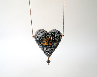 Porcelain Heart Necklace, White, Blue and Gold, with Iolite Bead, Statement Necklace, Goldfilled, Handmade by Cecilia Lind, StudioLind