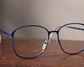Vintage 80s Oversized Blue Metal Frames
