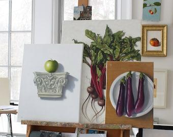oil painting still life Green Apple on Handmade Tile, oil on canvas