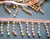 Letter - Beaded Fringe on 3/8 inch Satin Ribbon Apron, 2 inch, Pastels, 1 Yard For Accessories, Home Decor, Apparel, Mixed Media, Gifts